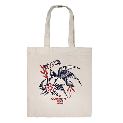 1920 Tattoo X COMMON ILKE VINTAGE Swallow Print Cotton Canvas Tote Bag front