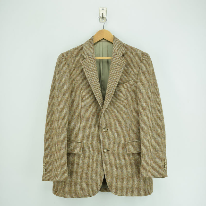 Vintage Harris Tweed Tailored in USA Brown Sports Jacket Country Blazer 38 front