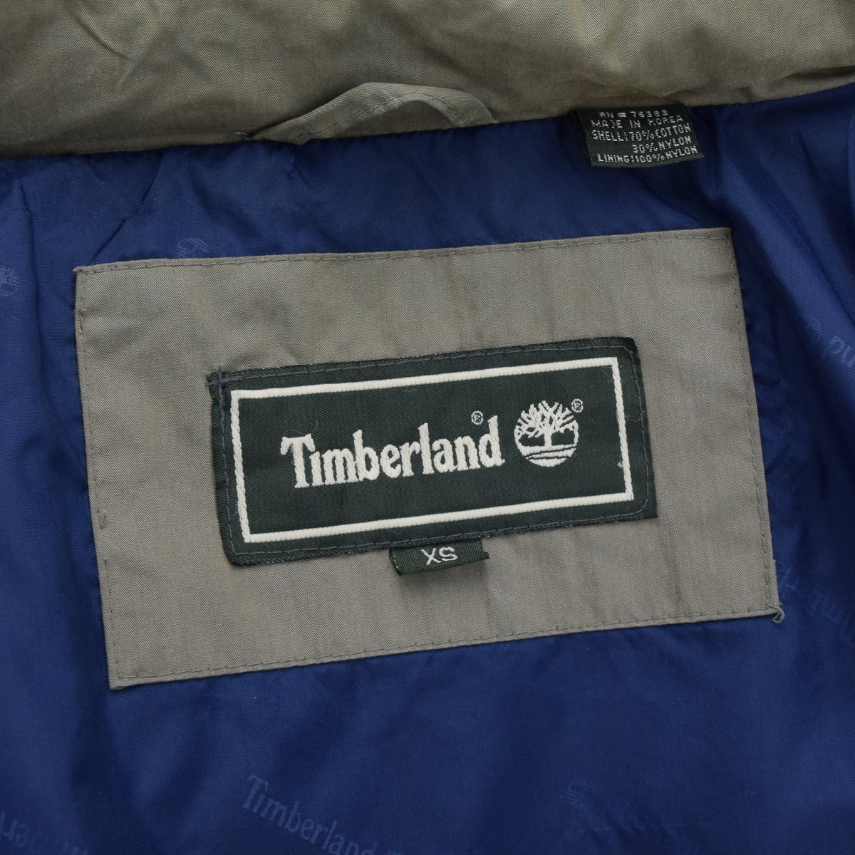 Vintage Timberland Olive Green Coat Jacket with Concealed Hood XS label