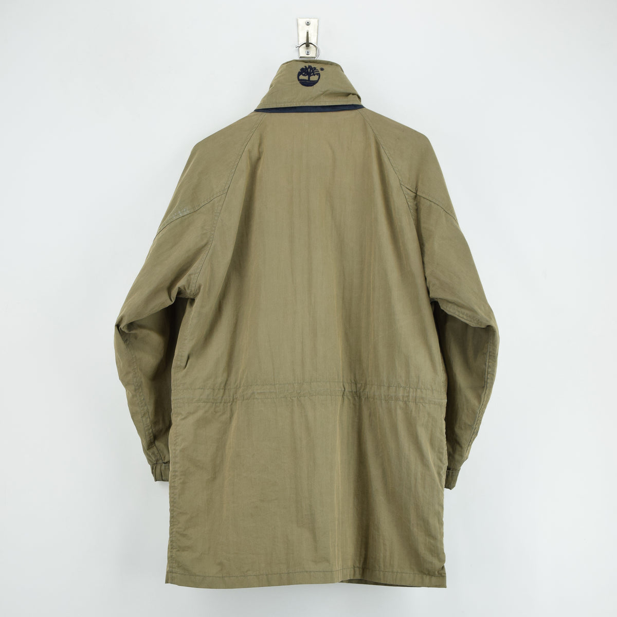 Vintage Timberland Olive Green Coat Jacket with Concealed Hood XS back