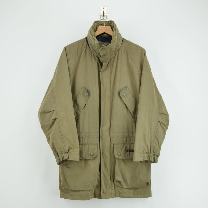Vintage Timberland Olive Green Coat Jacket with Concealed Hood XS front