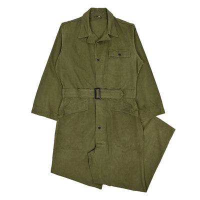 Vintage 40s US Army WWII HBT 13 Star Button Green Military Coveralls 44R L / XL front