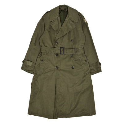 Vintage 50s Vietnam Era US Army OG-107 Long Trench Overcoat M FRONT