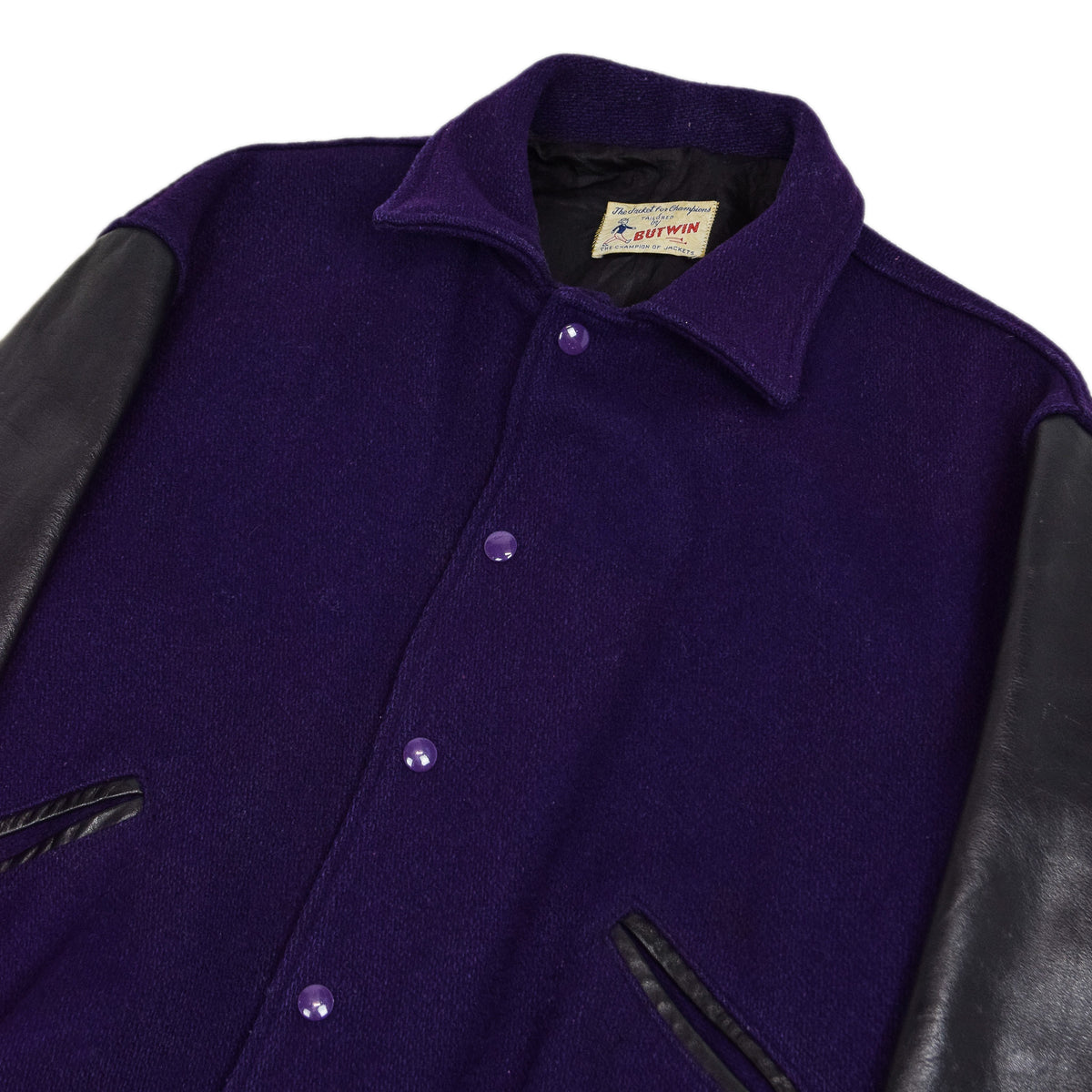 Vintage 60s Butwin Purple Wool Leather Varsity Jacket Lined Made in USA M chest