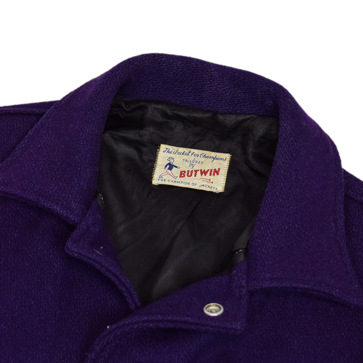 Vintage 60s Butwin Purple Wool Leather Varsity Jacket Lined Made in USA M label