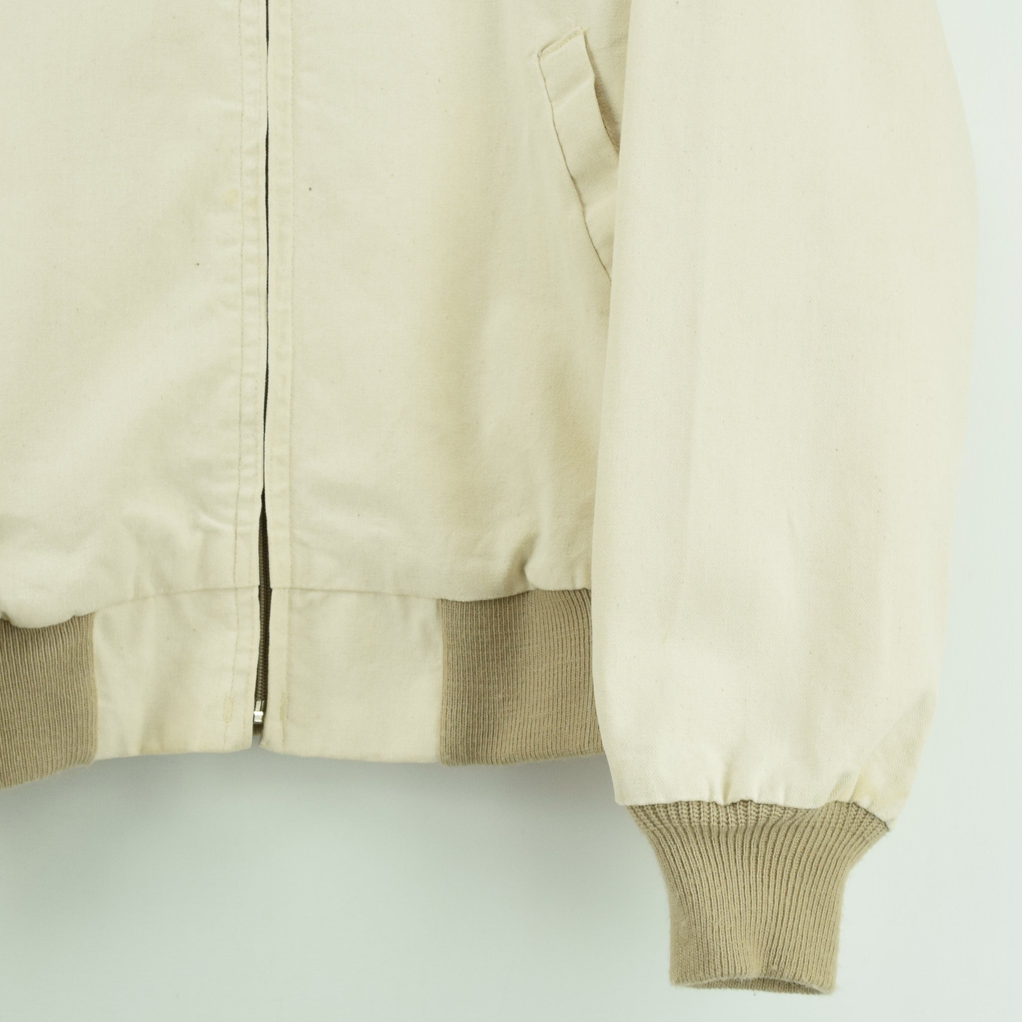 Vintage Walls Western Style Off White Cotton Canvas Bomber Jacket M front hem