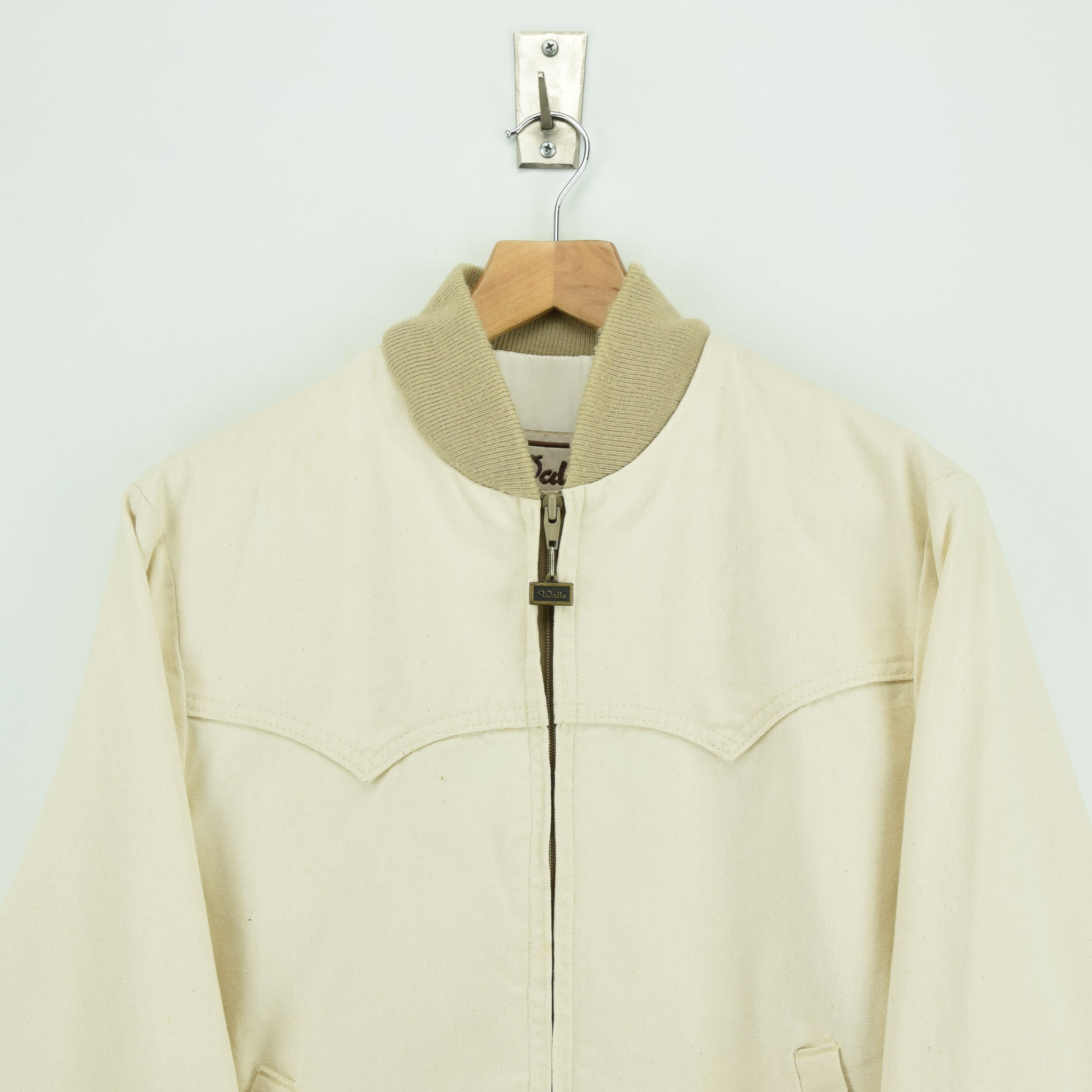 Vintage Walls Western Style Off White Cotton Canvas Bomber Jacket M chest