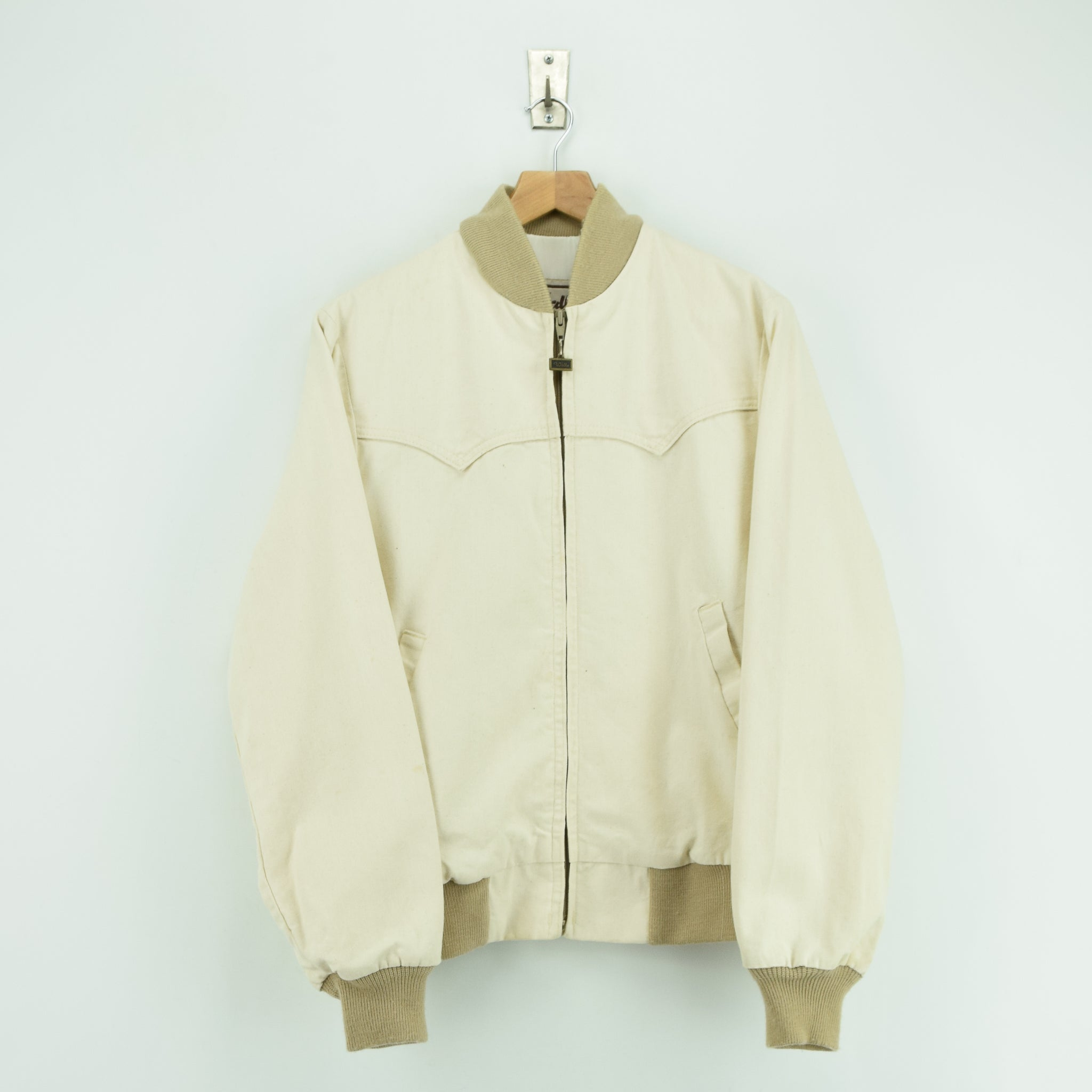 Vintage Walls Western Style Off White Cotton Canvas Bomber Jacket M front