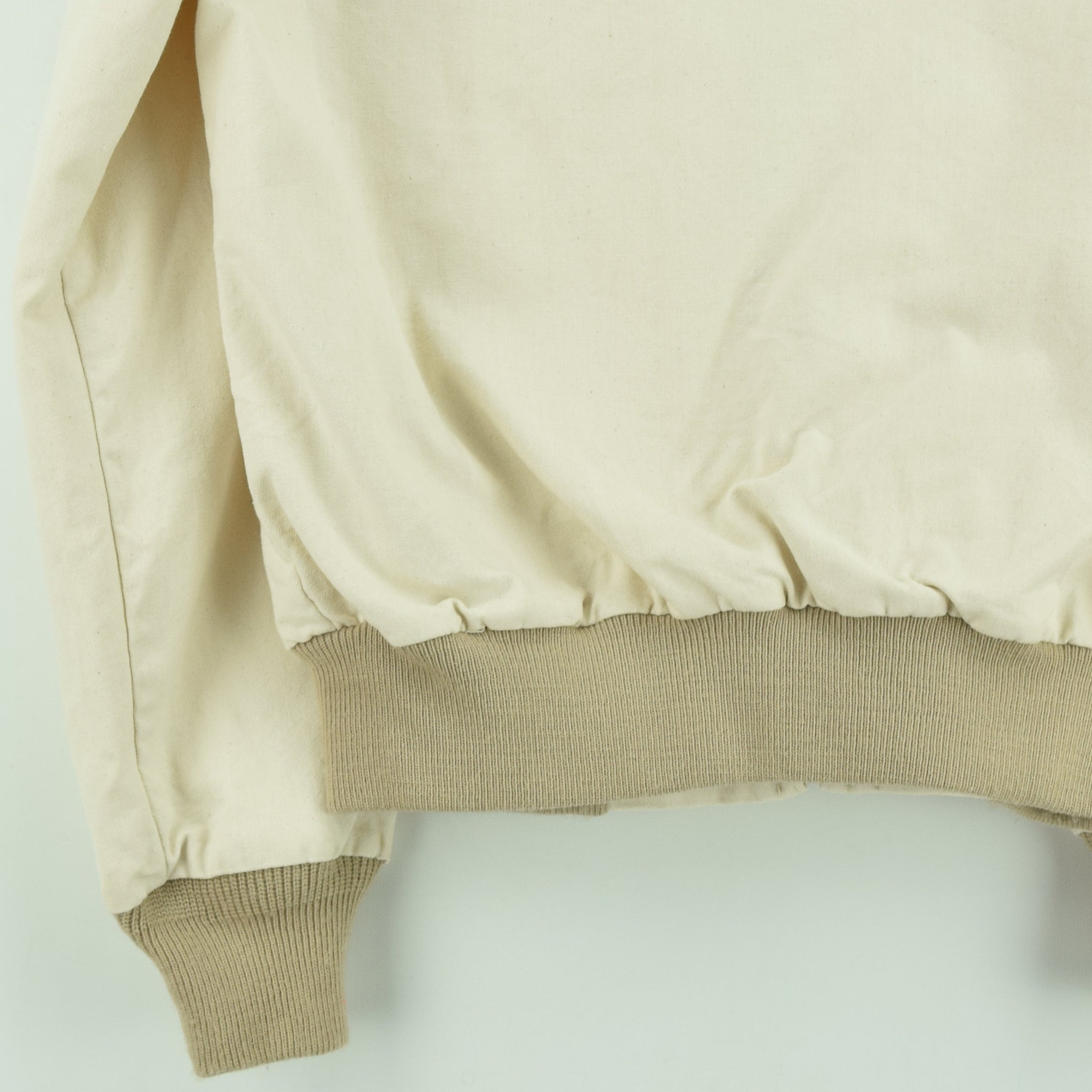 Vintage Walls Western Style Off White Cotton Canvas Bomber Jacket M back hem