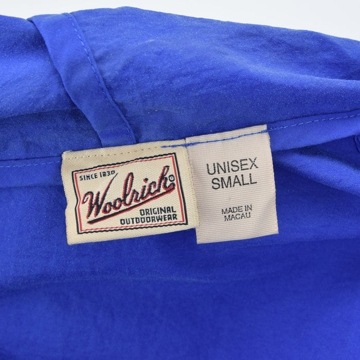 Woolrich Bright Blue Hooded Nylon Packaway Cagoule Unisex Jacket S label