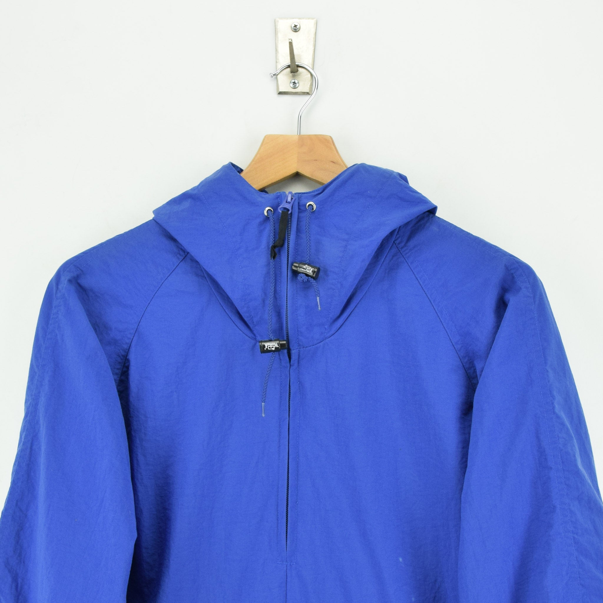 Woolrich Bright Blue Hooded Nylon Packaway Cagoule Unisex Jacket S chest