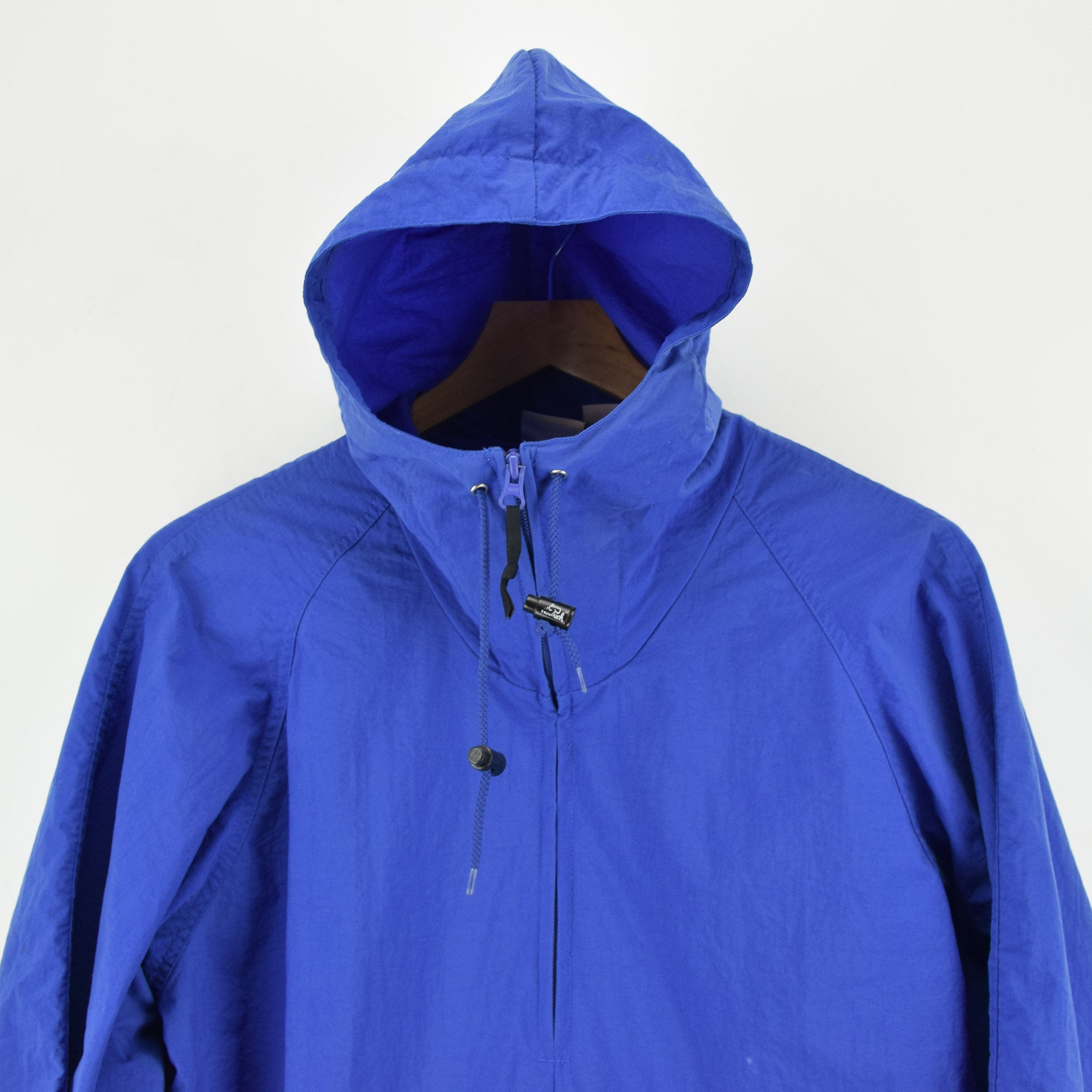 Woolrich Bright Blue Hooded Nylon Packaway Cagoule Unisex Jacket S chest hood zip