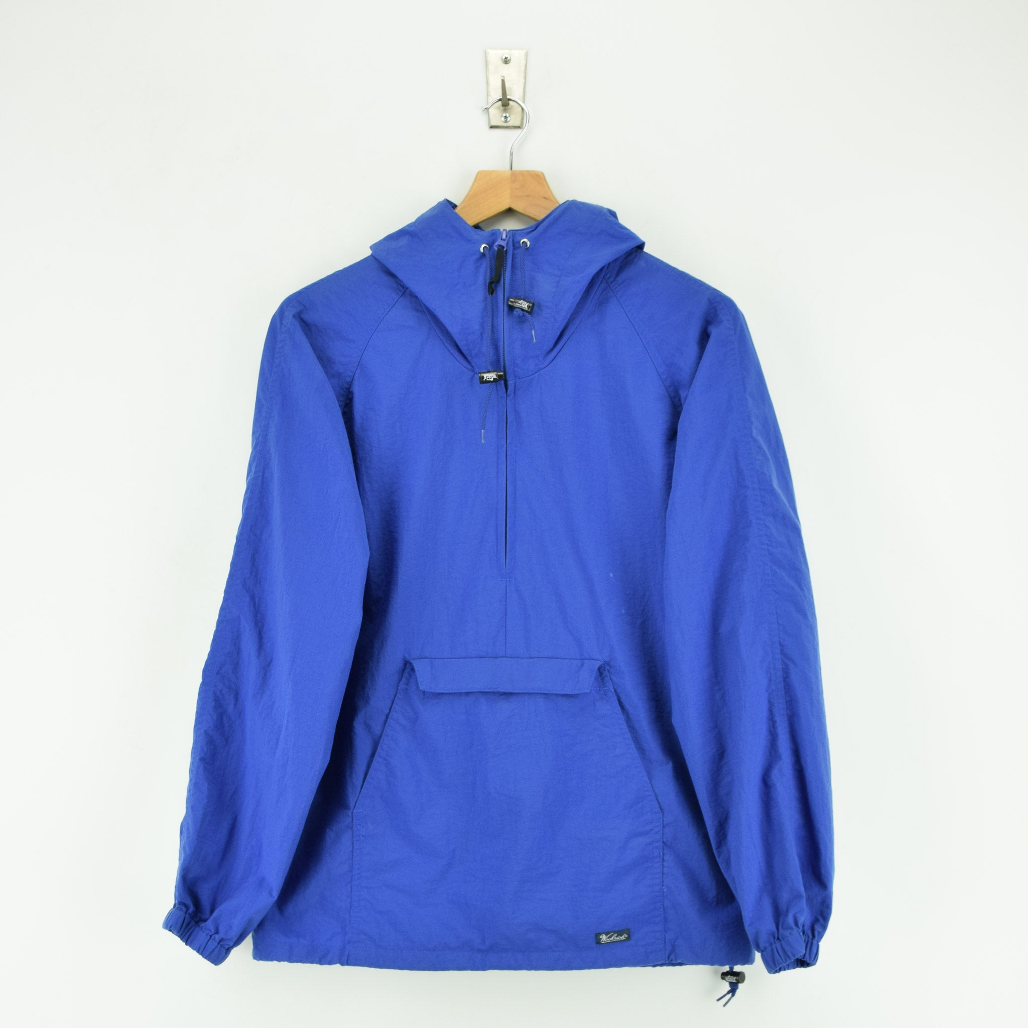 Woolrich Bright Blue Hooded Nylon Packaway Cagoule Unisex Jacket S front