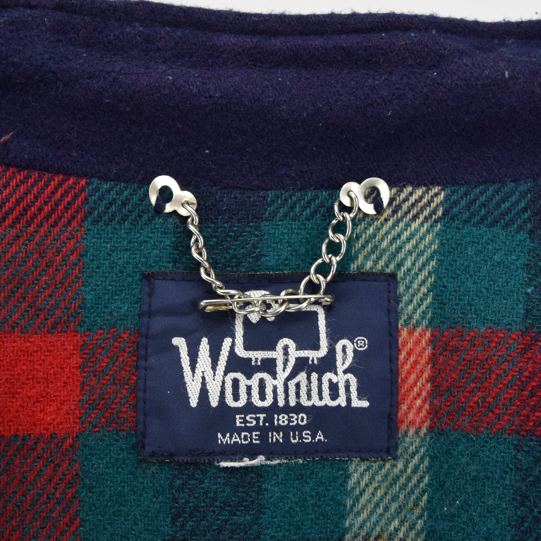 Vintage Woolrich Blue Bomber Jacket Plaid Lined Made in USA Made XXL label