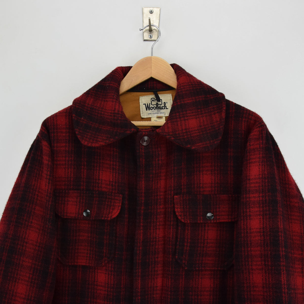 Vintage 70s Woolrich Buffalo Plaid Mackinaw Hunting Cruiser Jacket Made in USA L chest