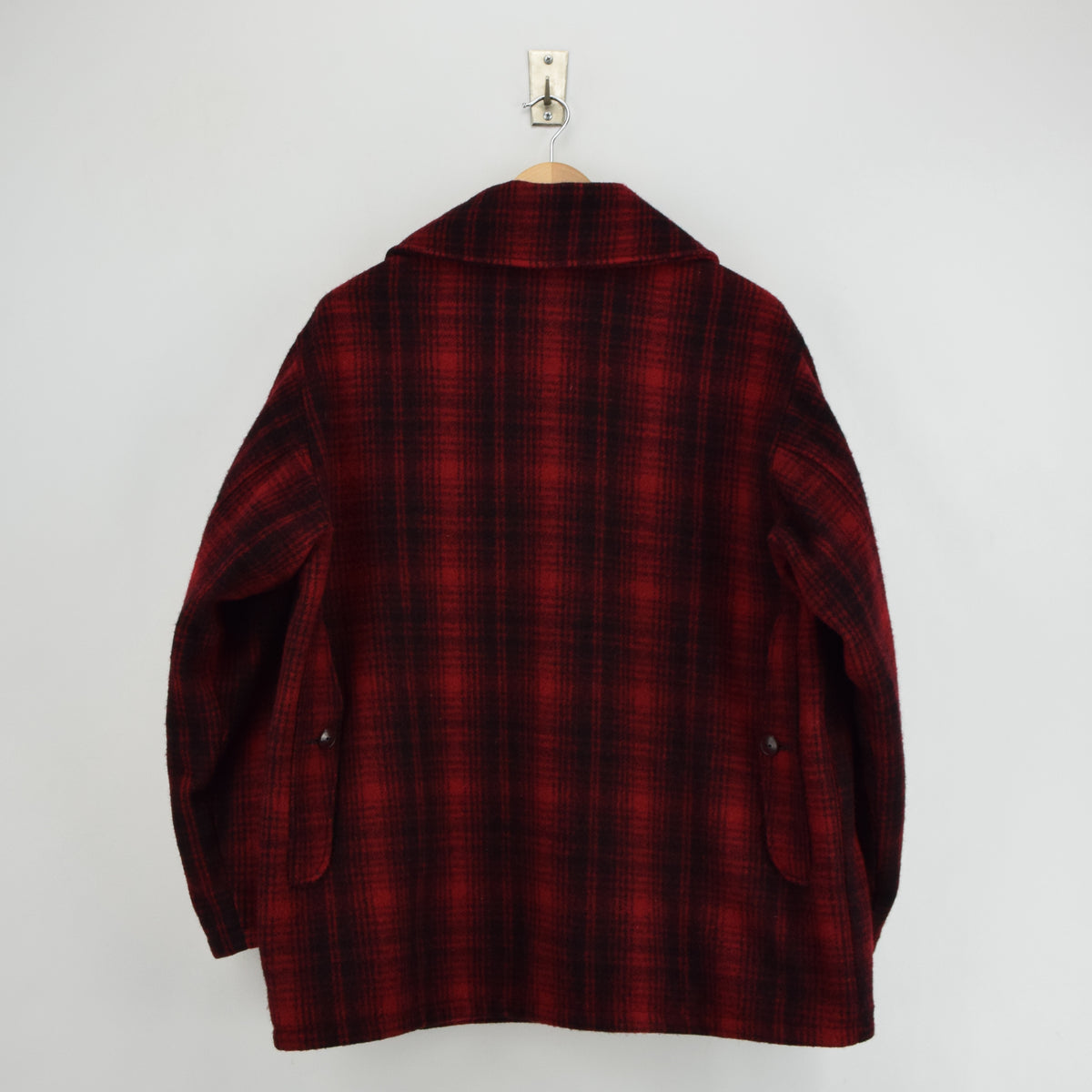 Vintage 70s Woolrich Buffalo Plaid Mackinaw Hunting Cruiser Jacket Made in USA L back