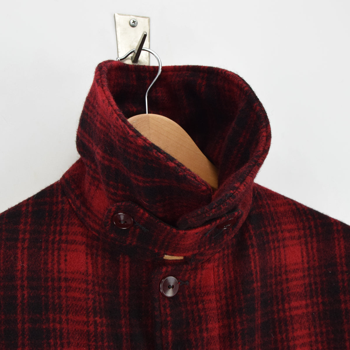 Vintage 70s Woolrich Buffalo Plaid Mackinaw Hunting Cruiser Jacket Made in USA L collar