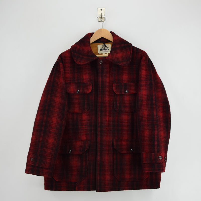Vintage 70s Woolrich Buffalo Plaid Mackinaw Hunting Cruiser Jacket Made in USA L front