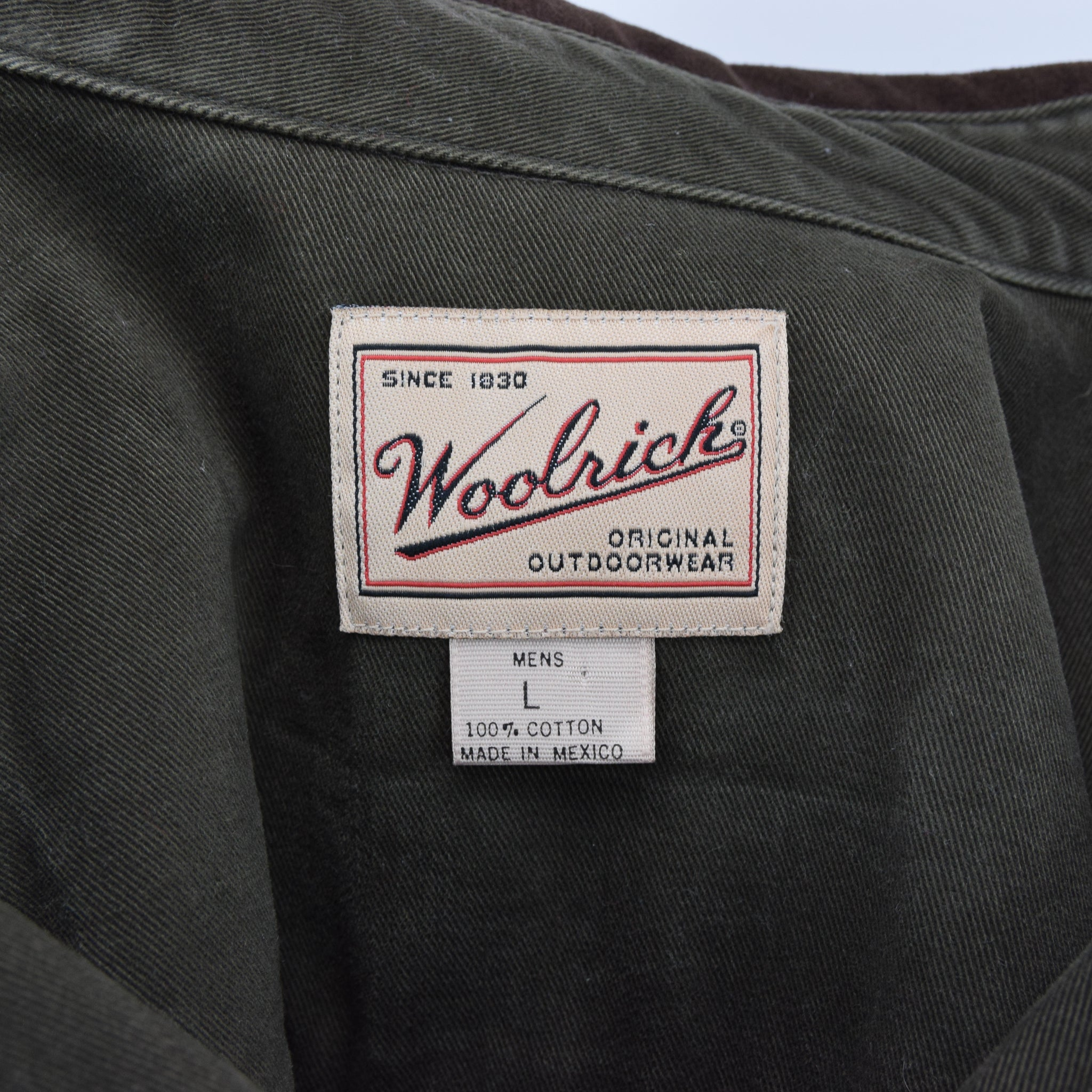 Vintage Woolrich Dark Green CPO Style Cotton Field Shirt L label