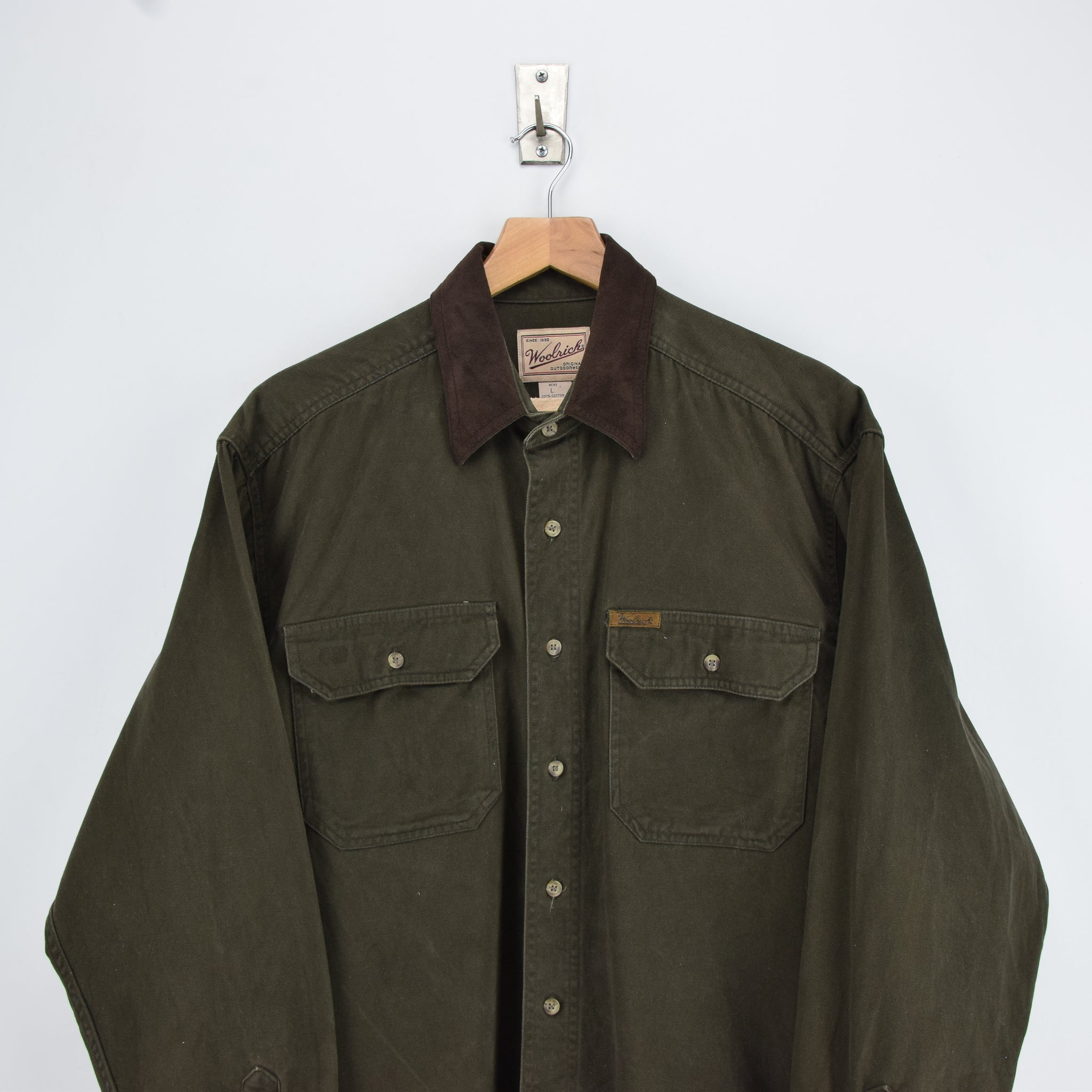 Vintage Woolrich Dark Green CPO Style Cotton Field Shirt L chest