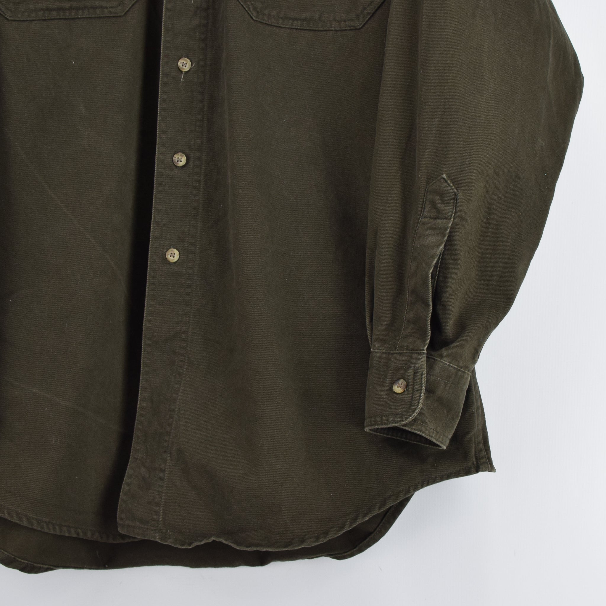 Vintage Woolrich Dark Green CPO Style Cotton Field Shirt L front hem