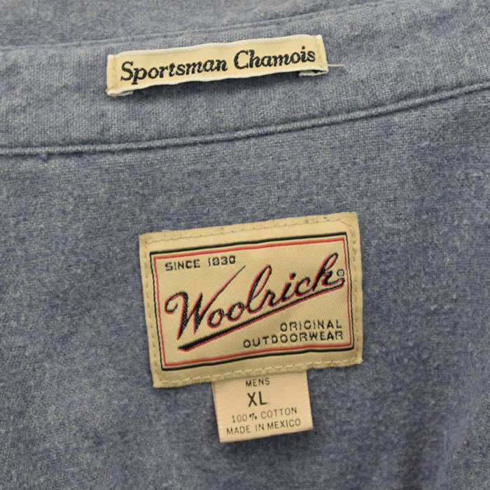 Vintage Woolrich Blue Long Sleeve Chamois Cloth Cotton Flannel Shirt XL label