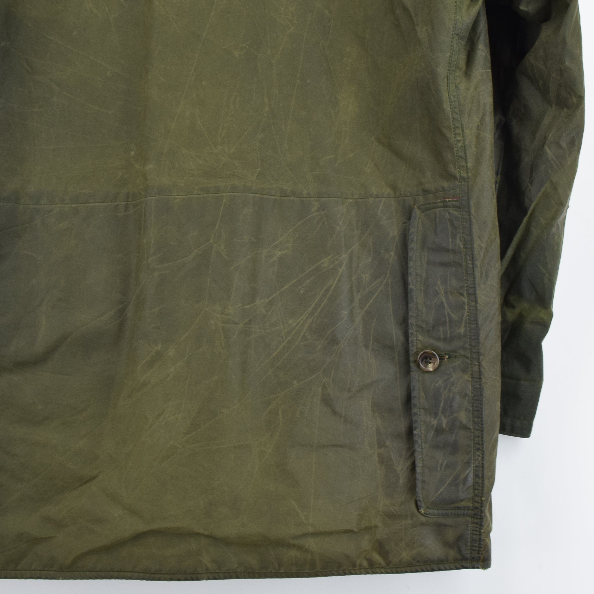 6b19a6ed4 ... Vintage 80s Ralph Lauren Polo Green Wax Jacket Hunting Coat Made in USA  M   L