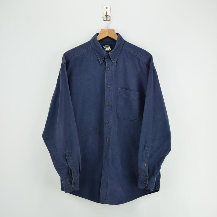 Vintage Woolrich Washed Navy Blue Long Sleeve Cotton Shirt Made in USA L front