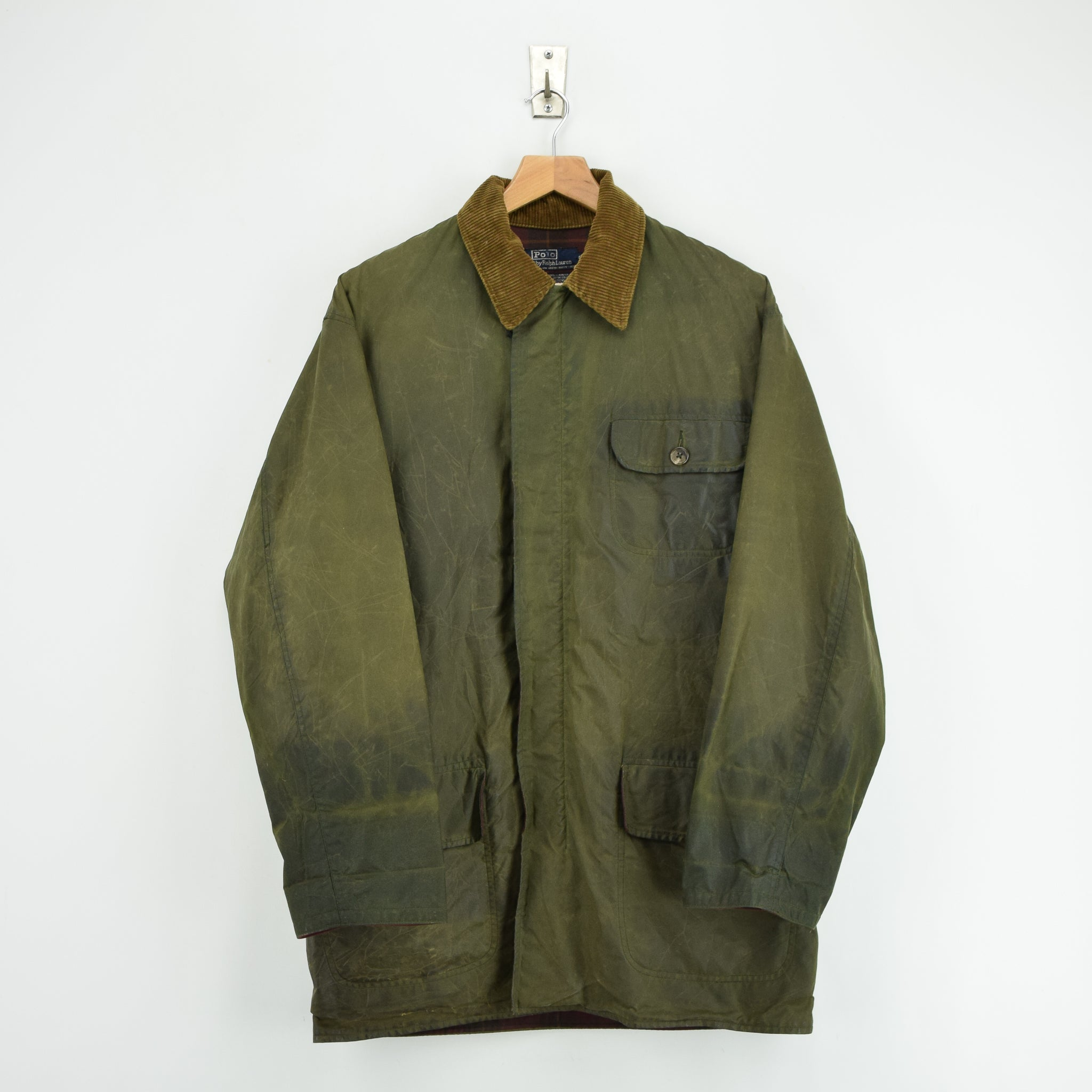 e88594a20 Vintage 80s Ralph Lauren Polo Green Wax Jacket Hunting Coat Made in USA M    L ...