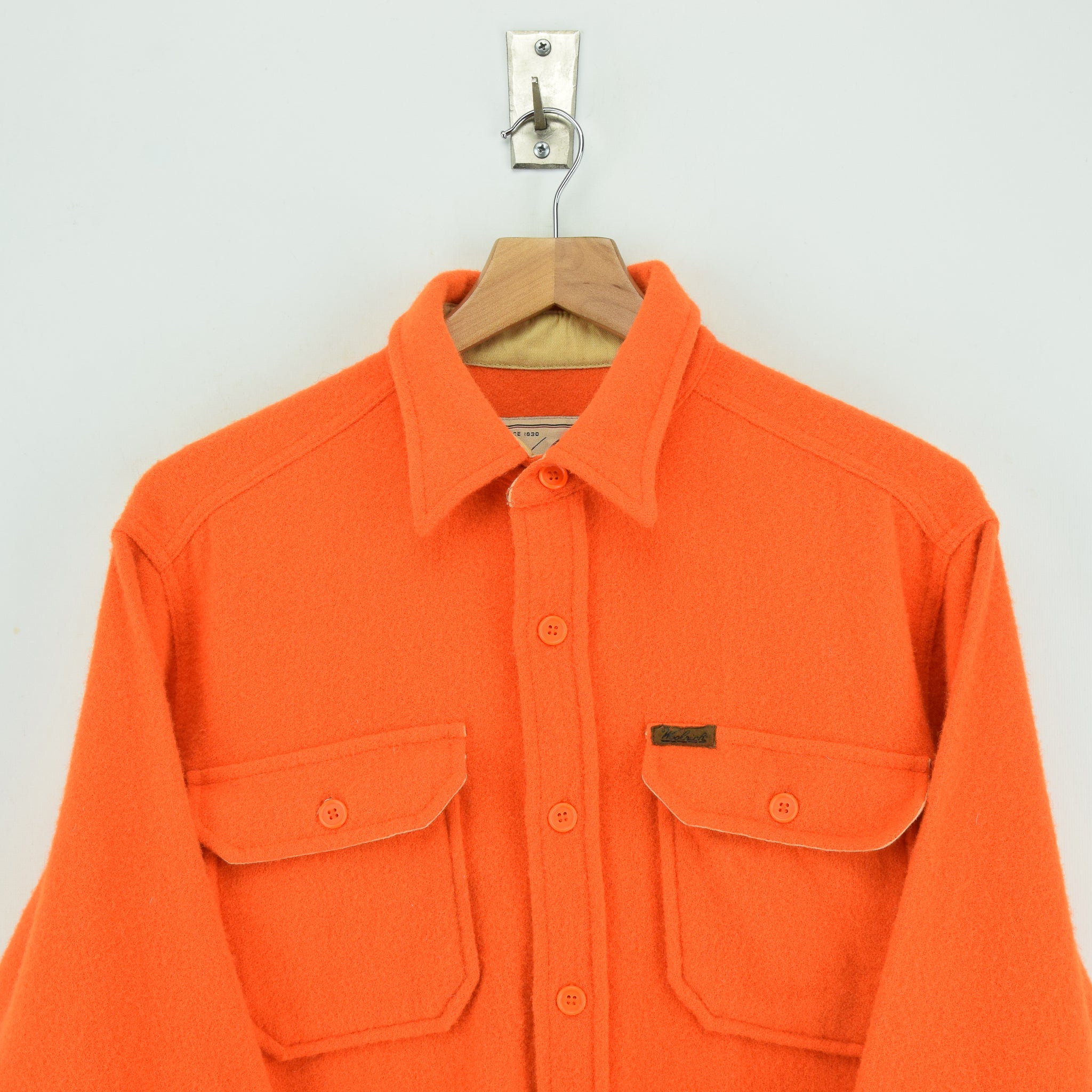 Vintage Woolrich Bright Orange Brushed Wool CPO Style Hunting Shirt Jacket M / L chest