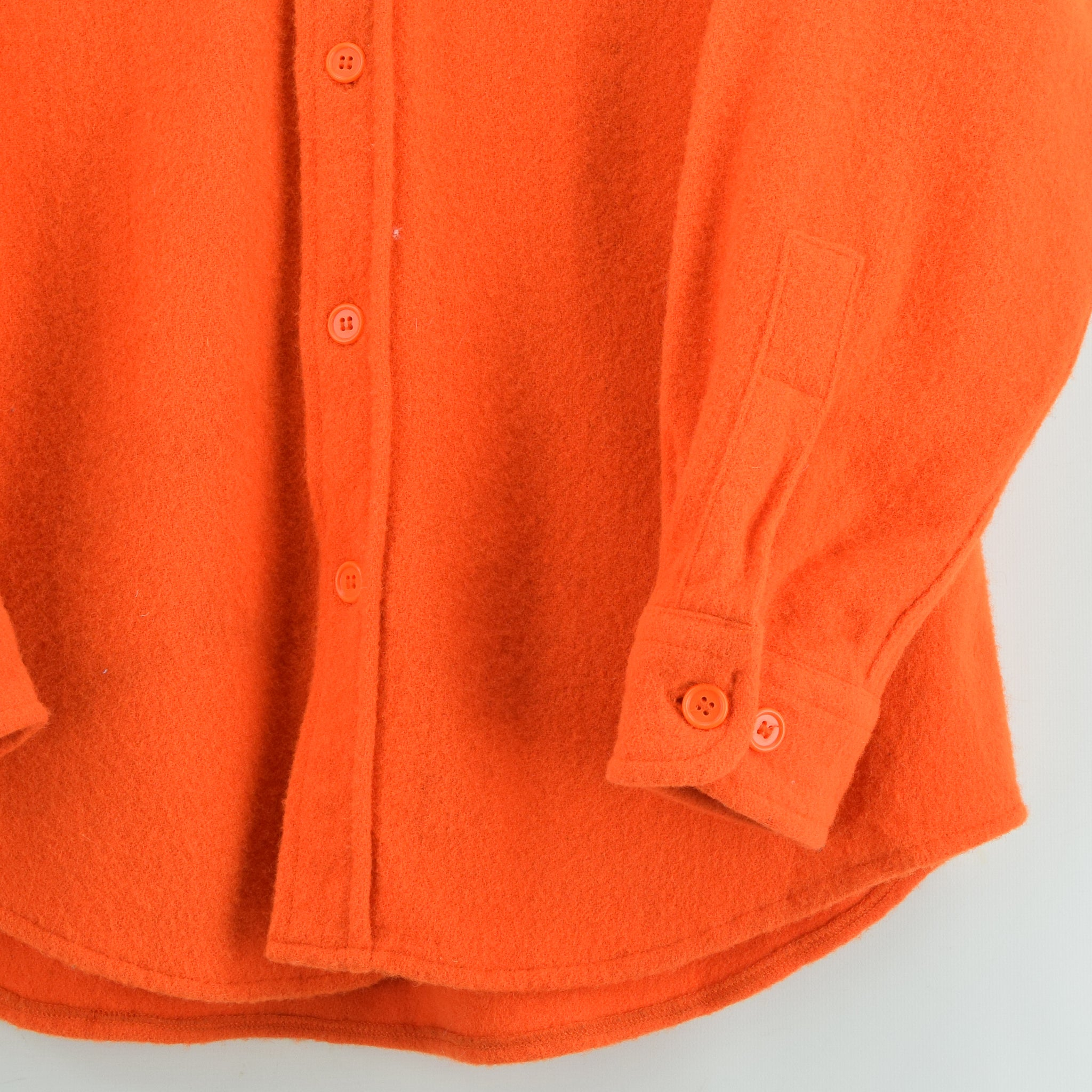 Vintage Woolrich Bright Orange Brushed Wool CPO Style Hunting Shirt Jacket M / L front hem
