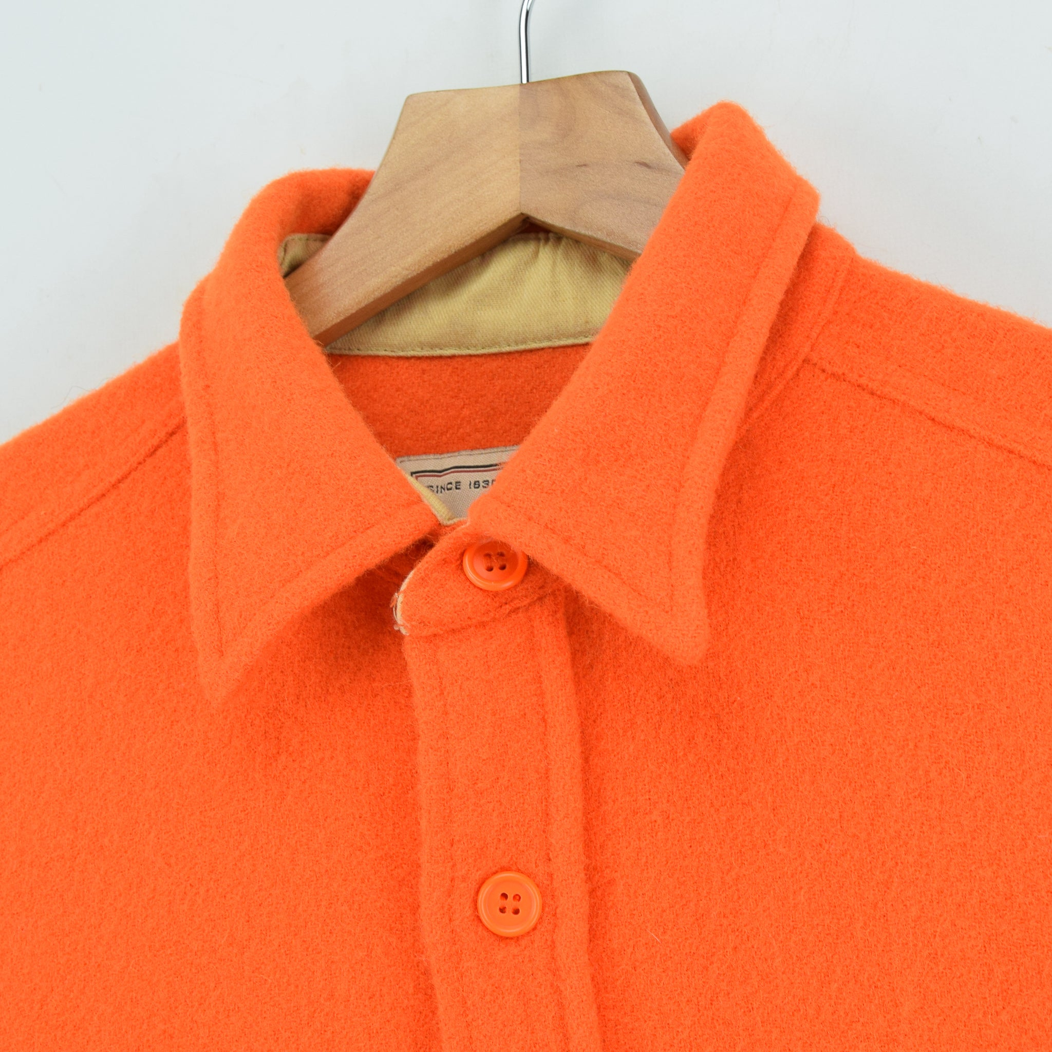 Vintage Woolrich Bright Orange Brushed Wool CPO Style Hunting Shirt Jacket M / L collar