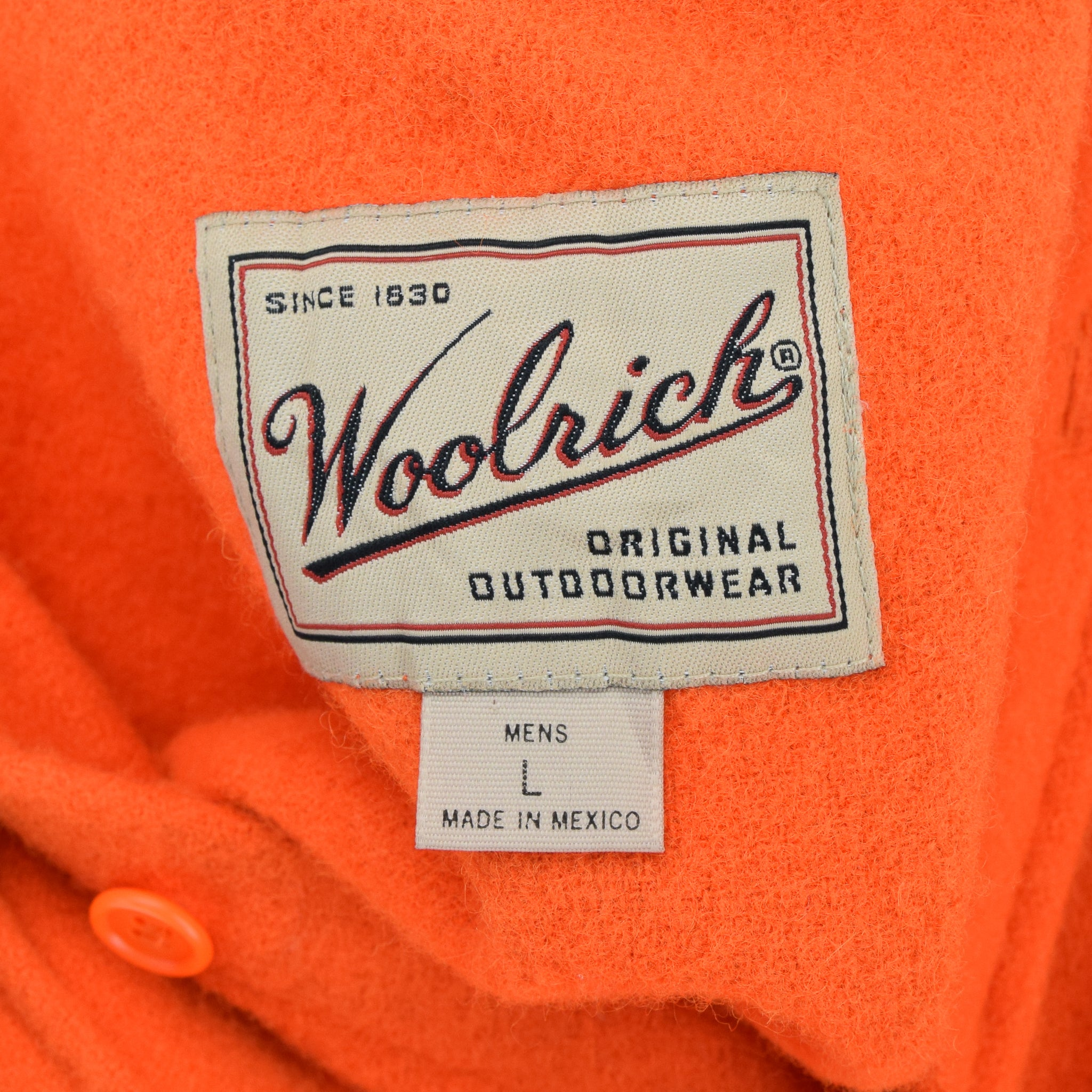 Vintage Woolrich Bright Orange Brushed Wool CPO Style Hunting Shirt Jacket M / L label