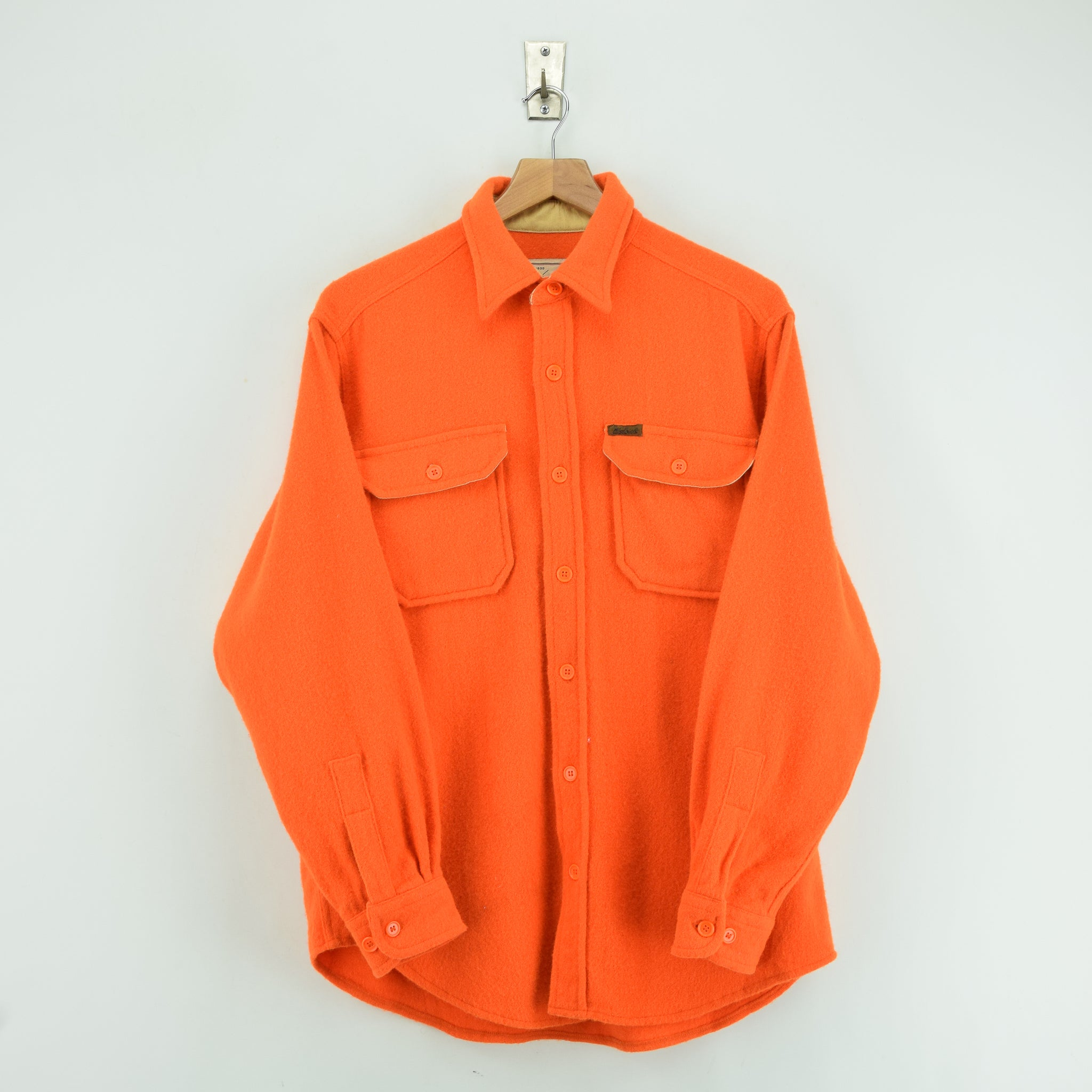 Vintage Woolrich Bright Orange Brushed Wool CPO Style Hunting Shirt Jacket M / L front