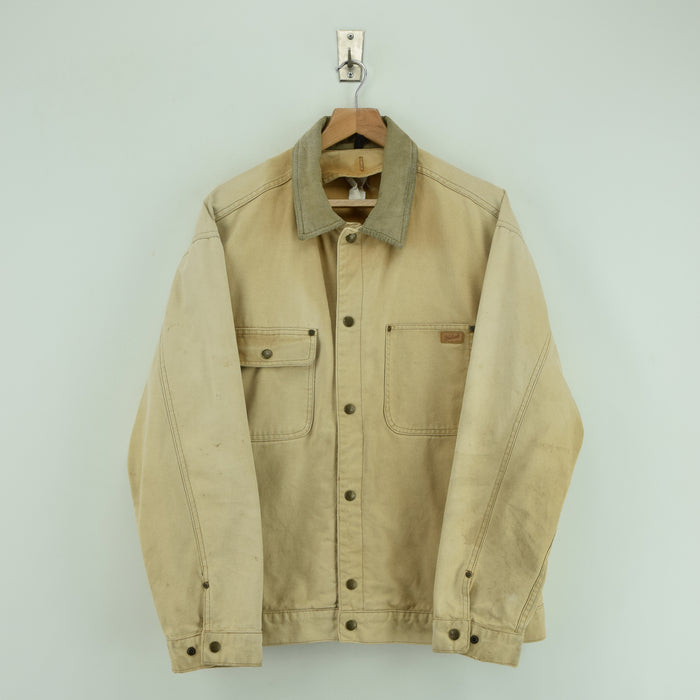 Vintage Woolrich Distressed Cotton Canvas Chore Bomber Jacket L / XL front