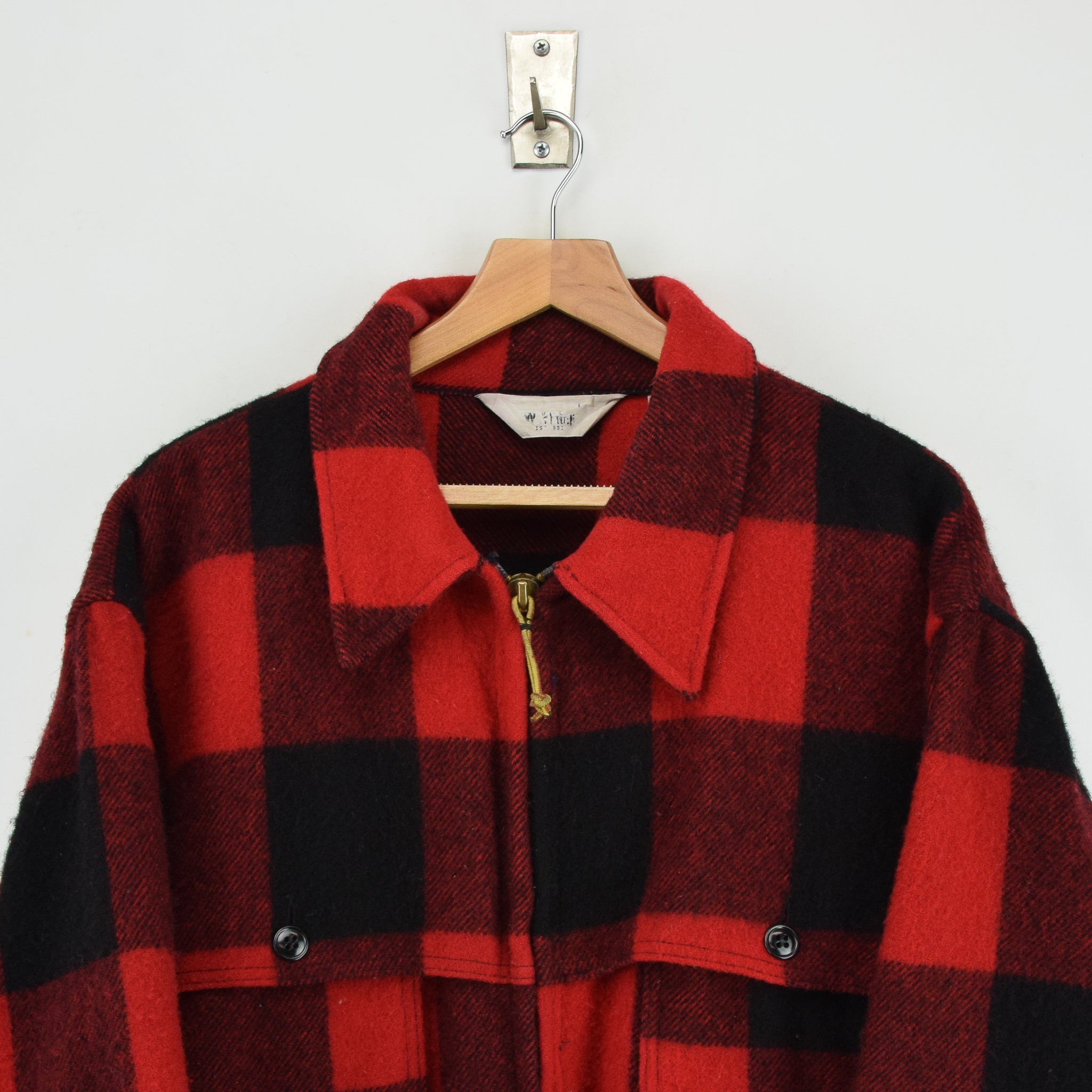 Vintage 70s Woolrich Buffalo Plaid Hunting Mackinaw Shirt Jacket Made in USA XXL chest