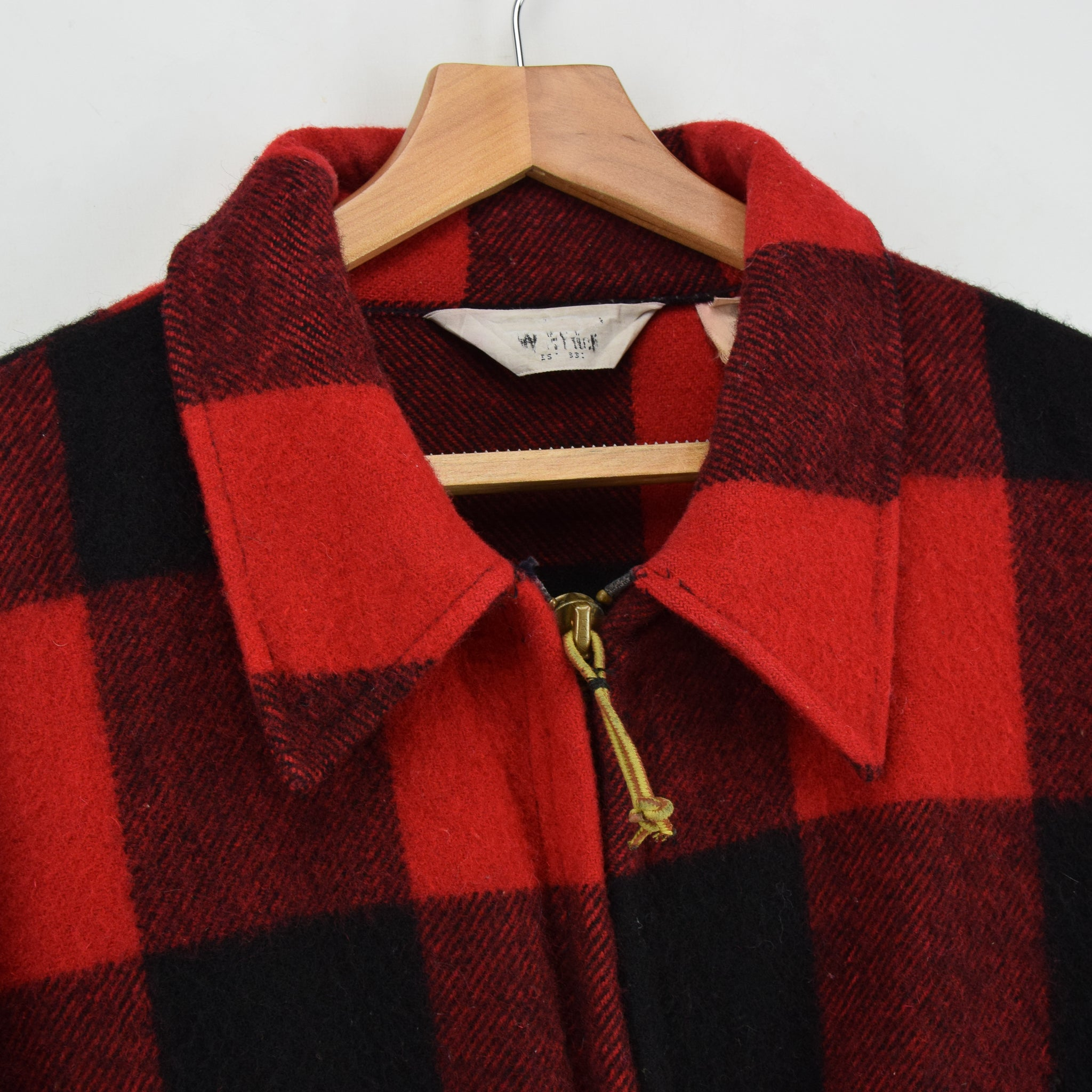 Vintage 70s Woolrich Buffalo Plaid Hunting Mackinaw Shirt Jacket Made in USA XXL collar