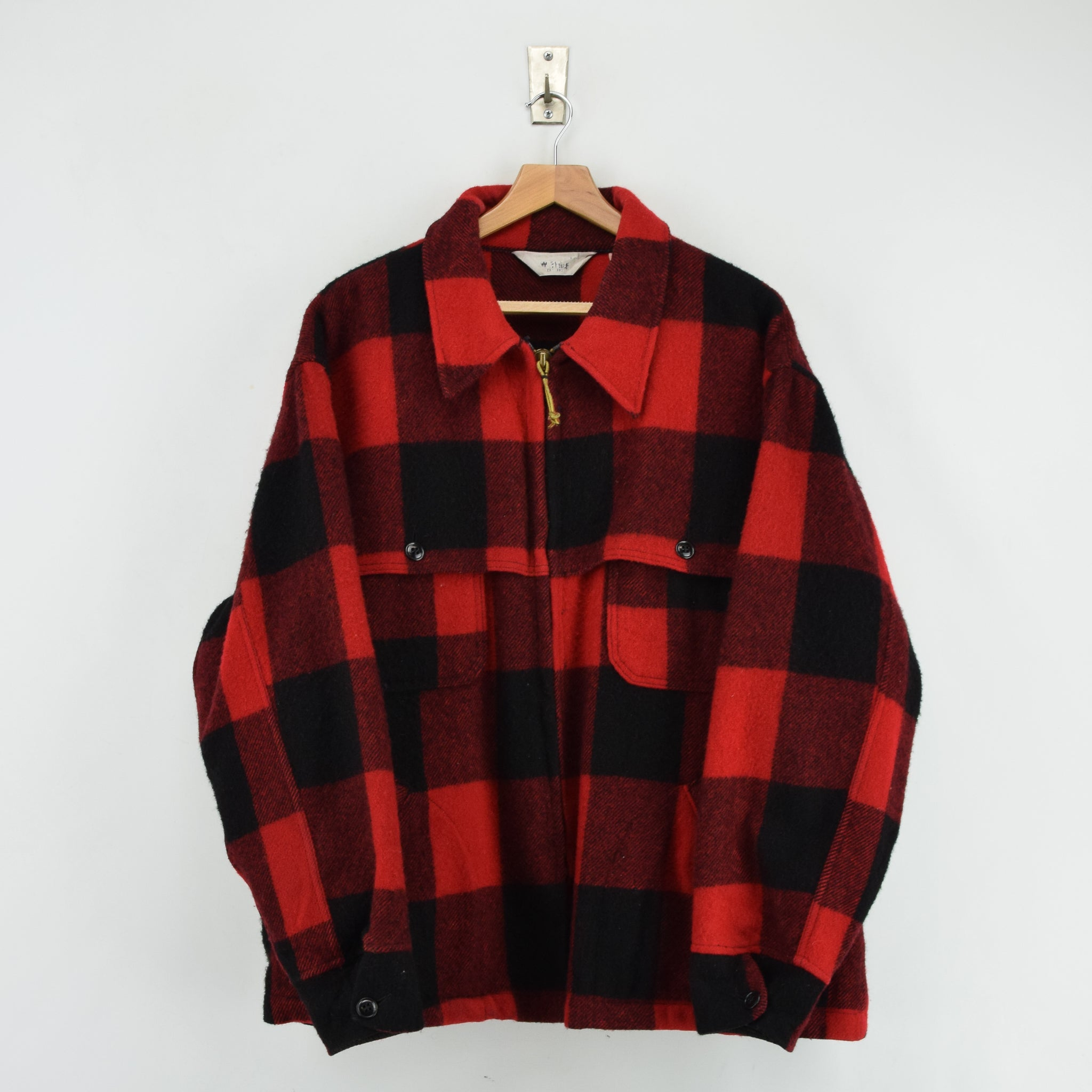 Vintage 70s Woolrich Buffalo Plaid Hunting Mackinaw Shirt Jacket Made in USA XXL front