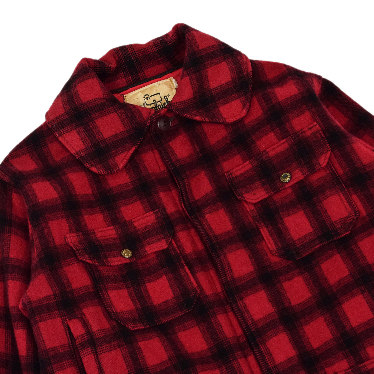 Vintage 70s Woolrich Woolen Mills Buffalo Plaid Mackinaw Hunting Jacket M chest