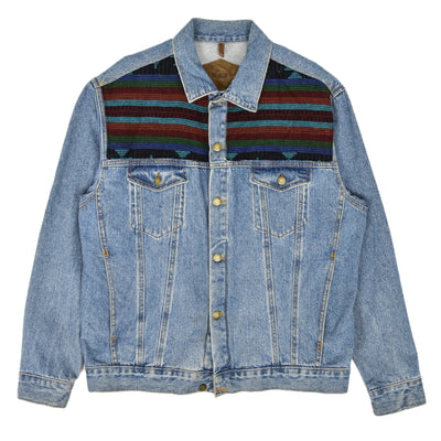 Vintage 80s Woolrich Denim Trucker Jacket Navajo Panels Made in USA L / XL front