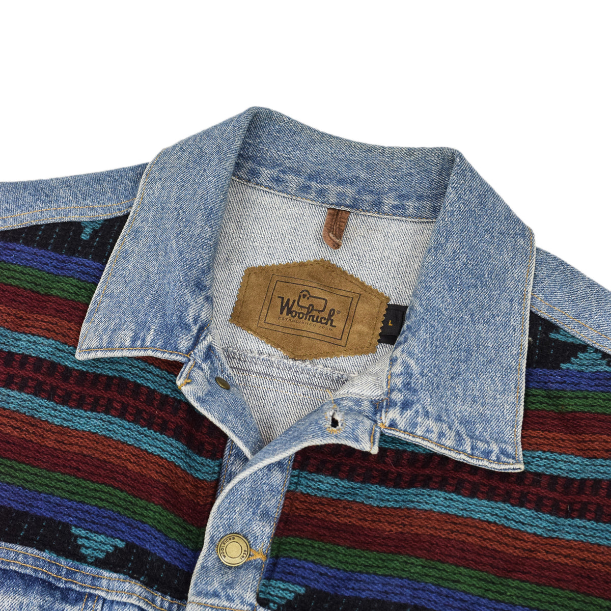 Vintage 80s Woolrich Denim Trucker Jacket Navajo Panels Made in USA L / XL collar detail