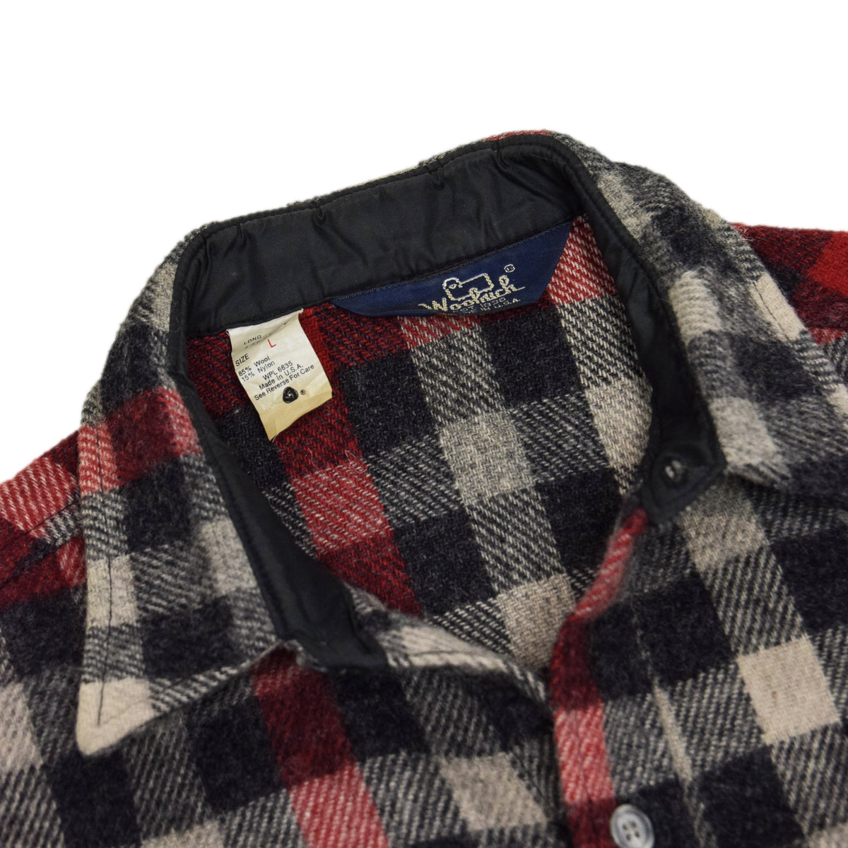 Vintage Woolrich Washed Check Long Sleeve Cotton Shirt Made in USA L COLLAR