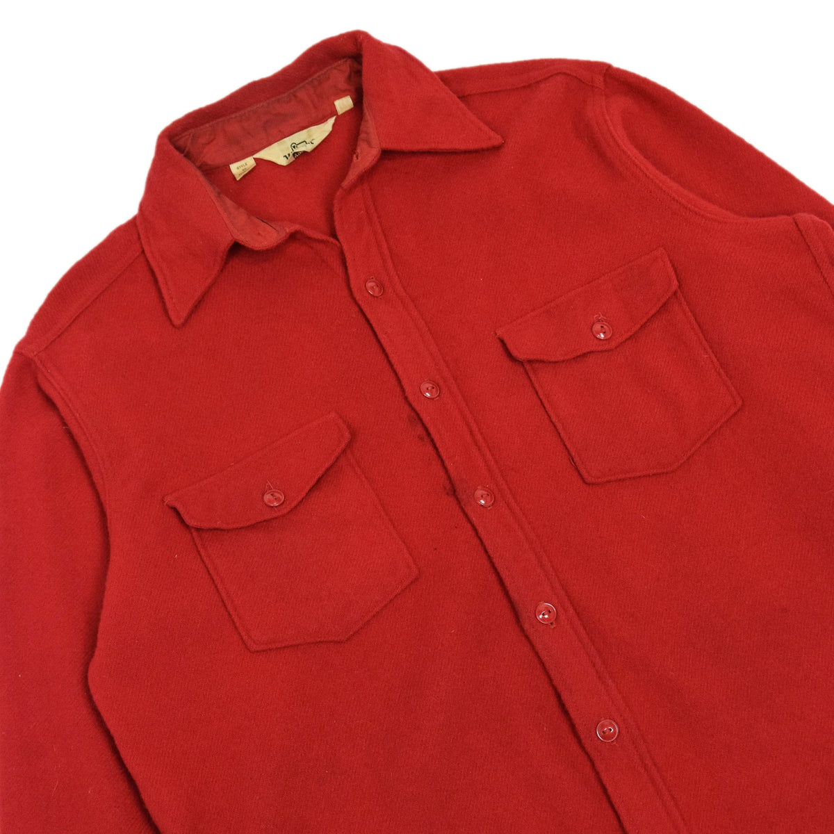 Vintage 70s Woolrich Red Long Sleeve Wool Shirt Made in USA L chest