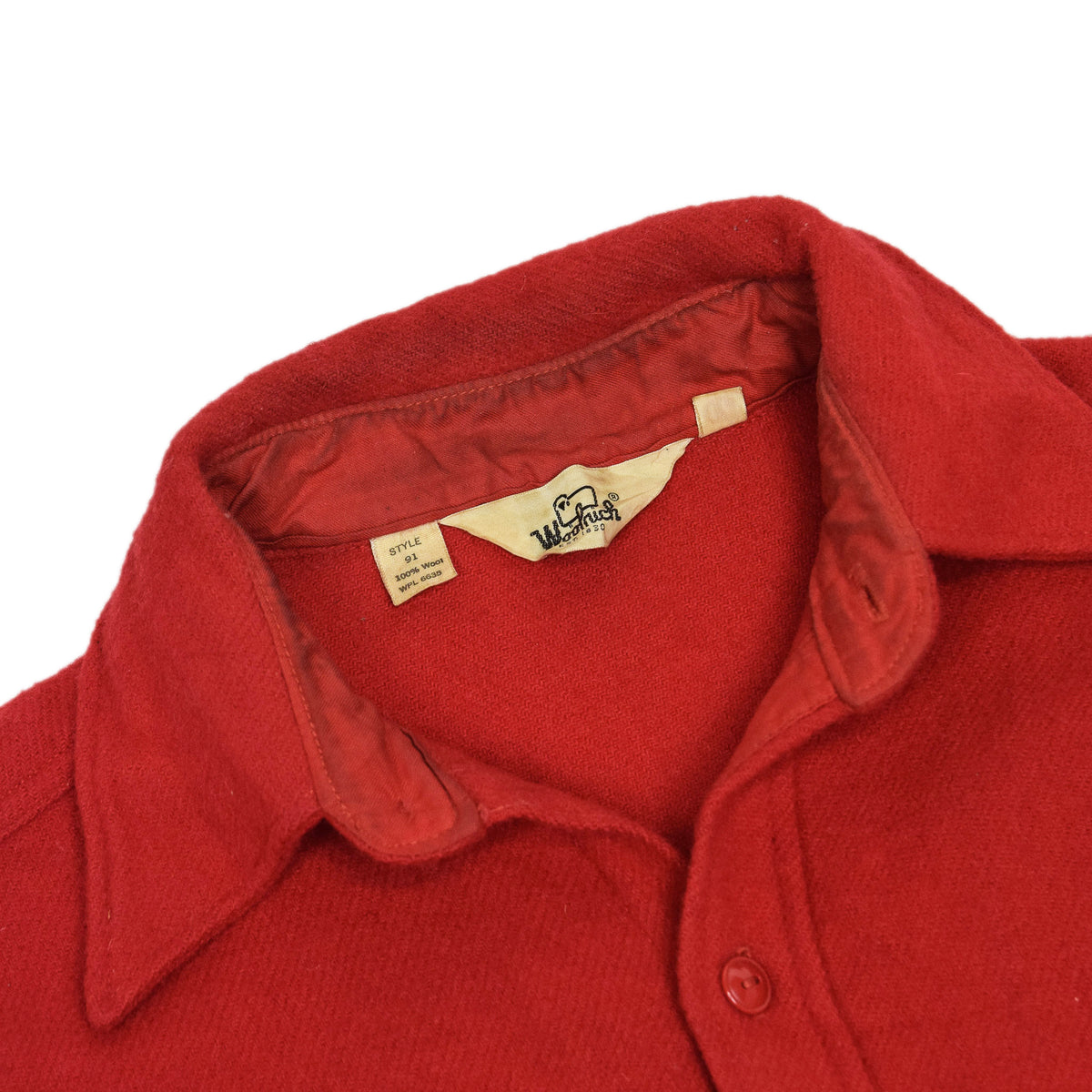 Vintage 70s Woolrich Red Long Sleeve Wool Shirt Made in USA L collar