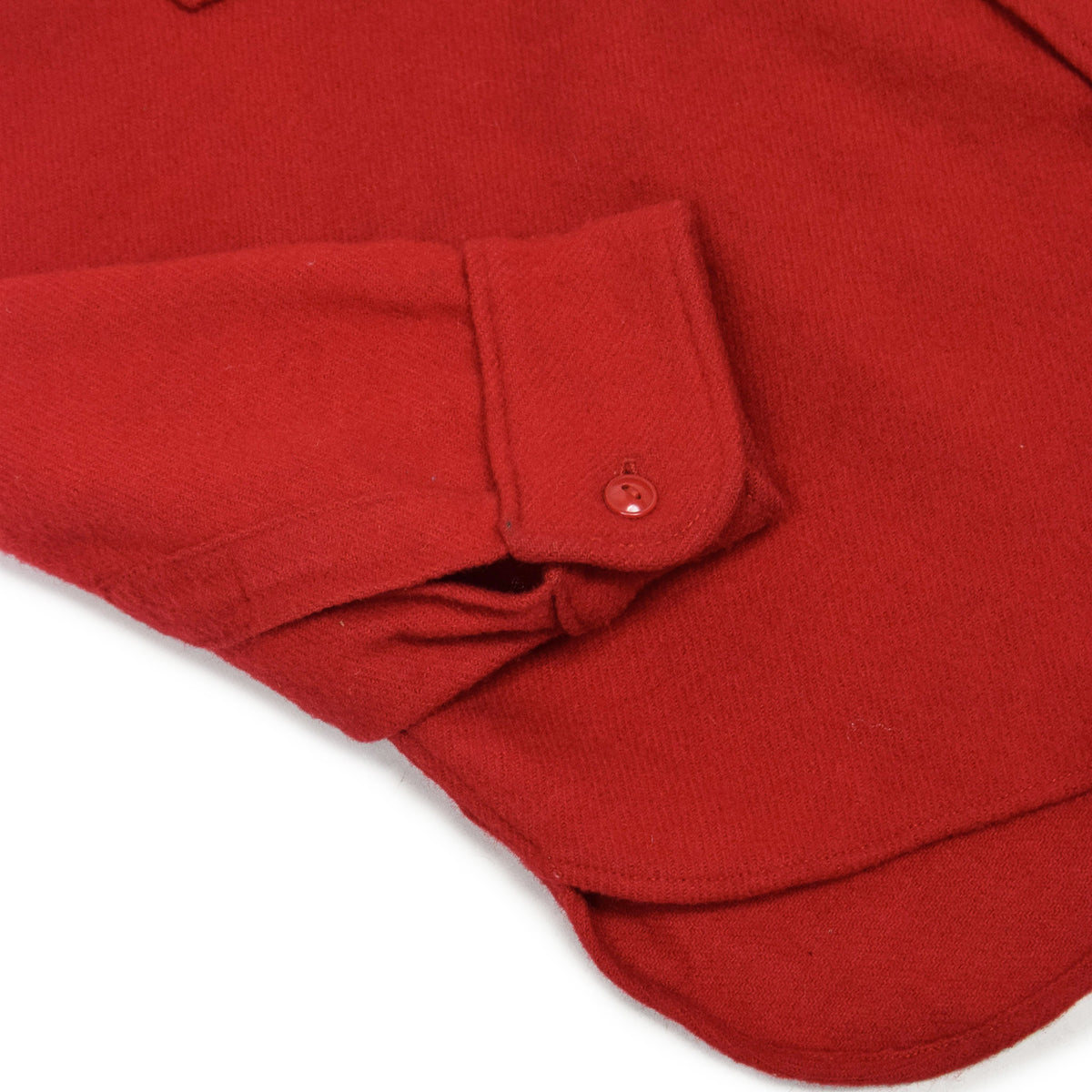 Vintage 70s Woolrich Red Long Sleeve Wool Shirt Made in USA L cuff