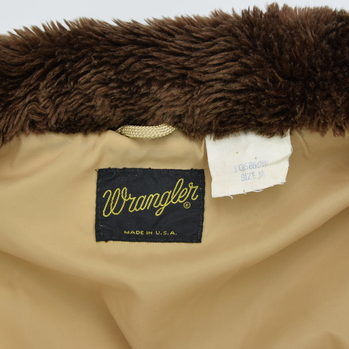 Vintage Wrangler Sand Casual Coat Jacket Faux Fur Collar Made in USA M label
