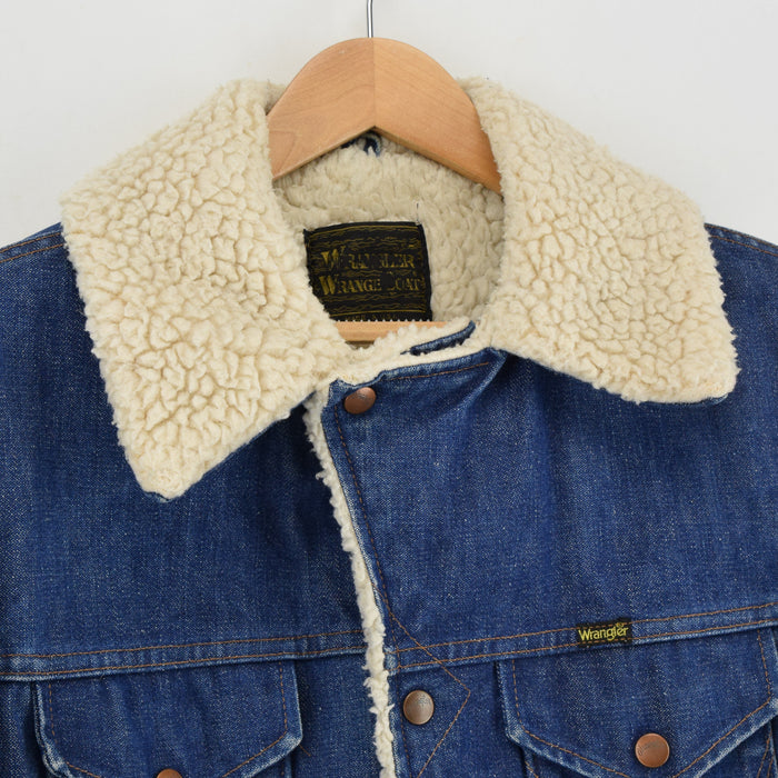 Vintage 70s Wrangler Wrange Sherpa Coat Blue Denim Western Made in USA L collar