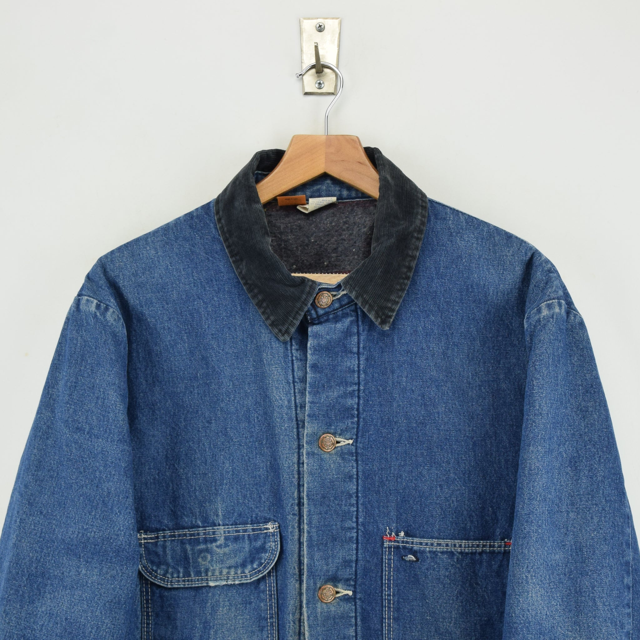 Vintage Wrangler Big Ben Blue Blanket Lined Denim Chore Jacket Made in USA L chest