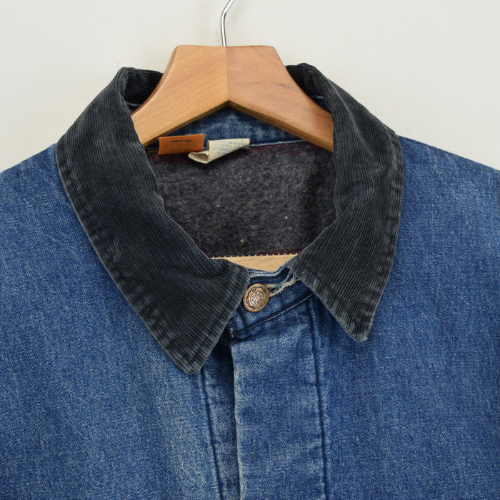 Vintage Wrangler Big Ben Blue Blanket Lined Denim Chore Jacket Made in USA L collar