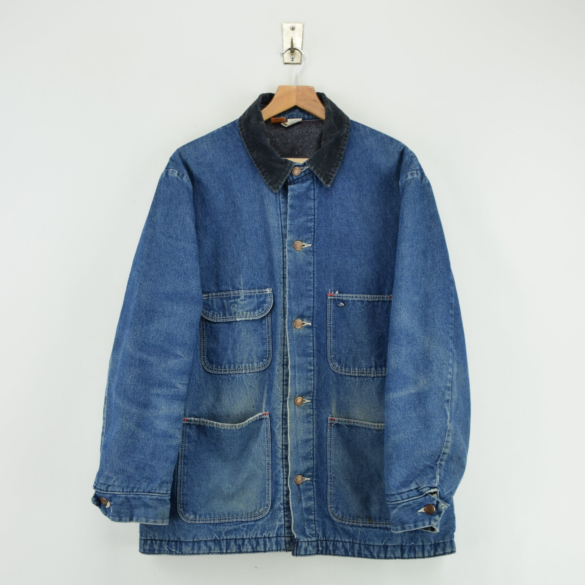 Vintage Wrangler Big Ben Blue Blanket Lined Denim Chore Jacket Made in USA L front